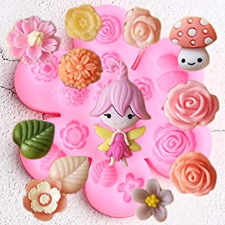 MOUJU Fairy Garden Silicone Molds Rose Flower Cupcake Fondant Mold Birthday Cake Decorating Tools Candy Chocolate Gumpaste...
