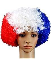 GUGUBU Francia Afro Peluca Bandera de Euros Franceses Copa Mundial Fútbol Fans Festival de música Raves Fiestas