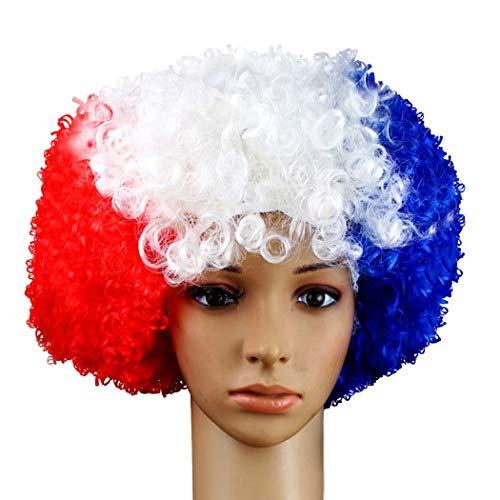 GUGUBU Francia Afro Parrucca Bandiera Francia Euro Mondiali Fans Festival Musica Festival Raves Feste