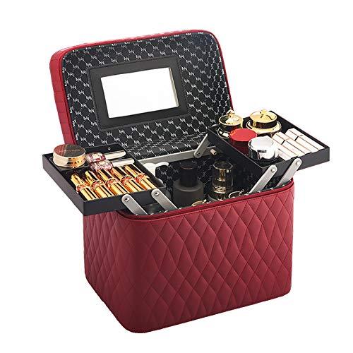 Mallette de Maquillage Professionnel Coffret Rangement Cosmétique de Malette Beauty Case à Maquillage Vanité Boite Valise,Wine Red,2 pallets