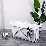 Schwänlein mobile badewanne Faltbare Badewanne 128cm mit Seifenkorb, Nackkissen, Hocker. Praktisch und Tragbar (weiß)
