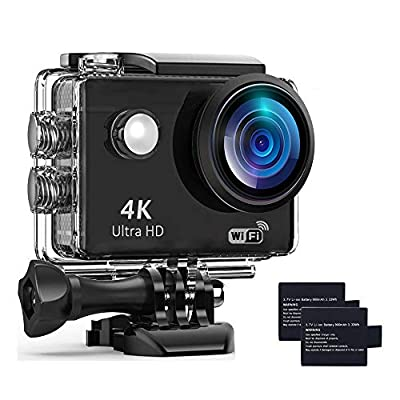 Action Camera 4K Underwater Waterproof Camera 170° Wide Angle WiFi Sports Cam with 2 Battery and Mounting Accessories Kit from Davola