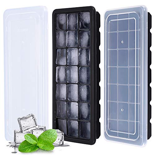 Kootek Ice Cube Trays 2 Pack Silicone Ice Cube Molds with Lid with 21 Cavity Flexible Ice Mold for Beverages Cocktail Coffee Juice Drinks (Black)