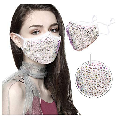 LIEIKIC Damen Halloween Maske, Mundschutz Halstuch Glitzer Waschbar Wiederverwendbar Atmungsaktive Multifunktionstuch für Abend Party (F)