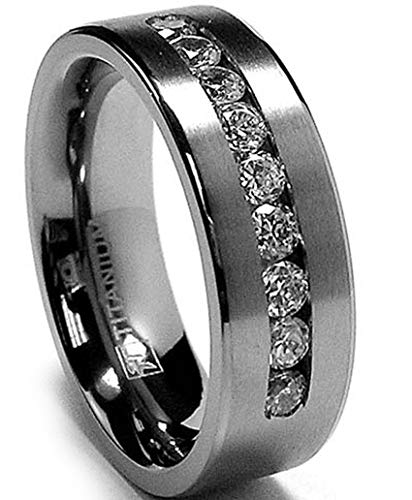 8 MM Men's Titanium Ring Wedding Band with 9 Large Channel Set Cubic Zirconia CZ Size 6