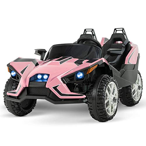Uenjoy 2 Seats Kids Car 12V Ride On Racer Cars Battery Operated Electric Cars w/ 2.4G Remote Control,Spring Suspension Wheels,4 Speeds,LED Lights,Music,AUX Cord,USB Port,Pink