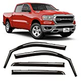Voron Glass in-Channel Extra Durable Rain Guards for Trucks Dodge RAM 1500 2019-2021 Crew Cab, Window Deflectors, Vent Window Visors, 4 Pieces - 220084