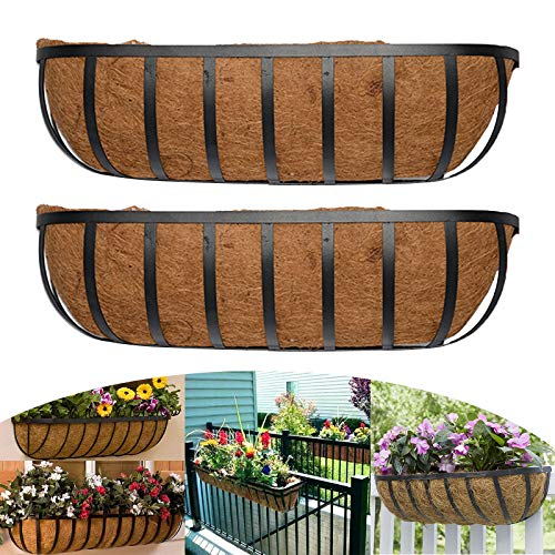 Metal Wall-Mounted Coconut Liner Planter Basket Hanging Planter Basket Horse Trough Coco Planter,Flat Iron Series Planter Boxes for Outdoor or Indoor Use