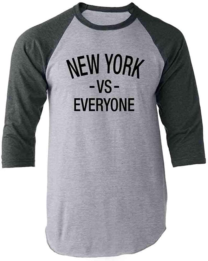 New York vs Everyone Sports Fan Gray 2XL Raglan Baseball Tee Shirt