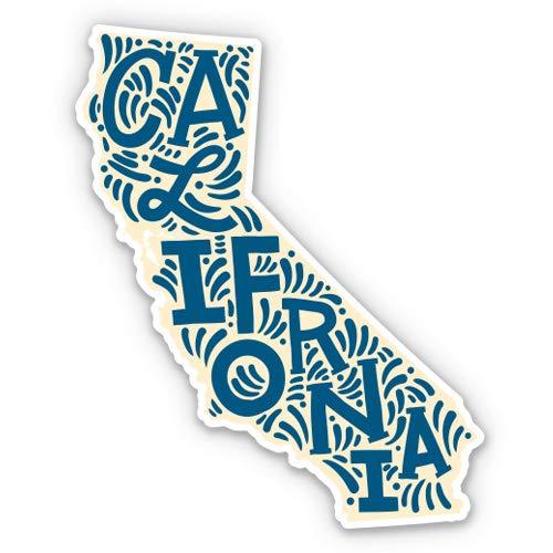 California State Shape Cali Cute Letters Native Local - 3' Vinyl Sticker - for Car Laptop I-Pad Phone Helmet Hard Hat - Waterproof Decal