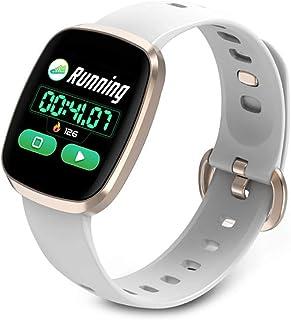 Rastreador de Ejercicios, Pantalla a Color Fitness Tracker IP67 Impermeable Reloj Pulsómetro Presión sanguínea Oxígeno en la Sangre Monitor de Sueño Podómetro Reloj Bluetooth