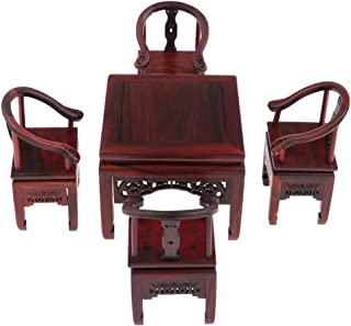 Perfeclan 5pcs Dollhouse Furniture Model - 1:6 Rosewood Square Dining Table and Chairs Set, Accessories for Hot Toys Figures, for 1/6 BJD Dolls