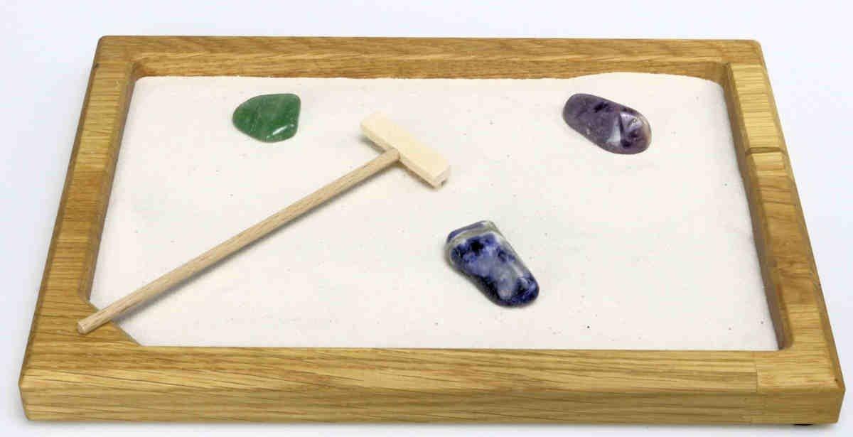 Jardín Zen de madera de roble M con 3 de piedras: Amazon.es: Hogar