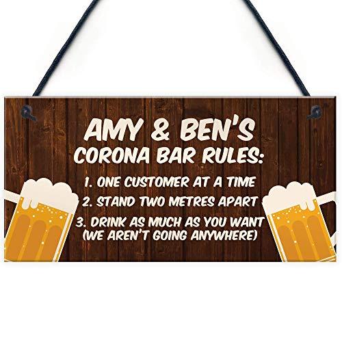 Cozy-T Komisch Personalised Corona Bar Rules Home Bar Pub Schild Garden Plakette Lockdown Gift