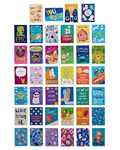 American Greetings 6437636 Mini Note Cards for Kids, Spread Smiles (40-Count)