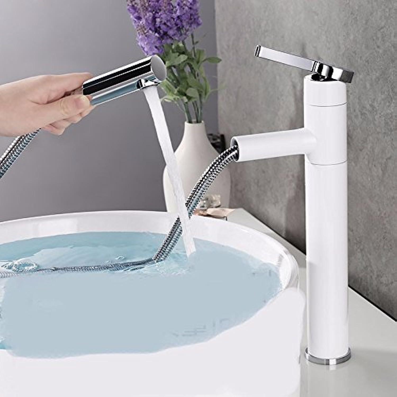 Bijjaladeva Wasserhahn Bad Wasserfall Mischbatterie WaschbeckenWasserhahn Messing Einzigen Griff Einzelne Bohrung Kaltes und Warmes Sitzen in Zeile 360° zu Zeichnen-Die weien Hig