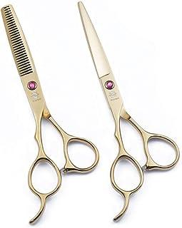 "Left Hand 6.0"" Professional Barber Razor Edge Hairdressing Scissors and Hair Thinning Scissors/Shears Set (Gold)"