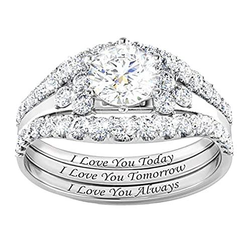 minjiSF Anillo 3 en 1 con estrás para mujer, clásico, exquisito, de alta calidad, joya de matrimonio, anillo de compromiso, anillo delicado (plata 10, 10)
