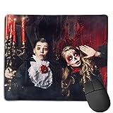 Mousepad Halloween Zwei Kinder Karneval Kostüme Scare Mouse Mat, genähte Kanten Gaming Mouse Pad Mat