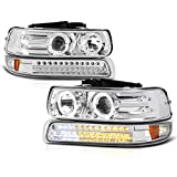 VIPMOTOZ Chrome LED Halo Ring Projector Headlight + LED Strip Front Bumper Parking Turn Signal Lamp Assembly Replacement For 1999-2002 Chevy Silverado 1500 2500 3500 & 2000-2006 Tahoe Suburban