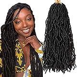 18 Inch Nu Locs 7 Pack Goddess Faux Locs Crochet Hair Pre-Looped Wavy Locs Crochet Twist Braids Soft Faux Locs Hair Low Temperature Fiber Crochet Hair Extensions for Women(1B)