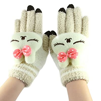 FakeFace Cute Cartoon Smart Phones & Tablet Touch Screen Texting Gloves Womens Girls Kids Soft Wool Knitted Winter Hand Warmer Gloves Mittens Best Birthday,Holiday,Christmas Gifts for Kids,Girls,Women,Female,etc.