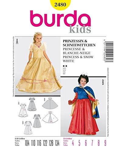 Burda 2480modello abito costume di carnevale per principessa & Bianco come la neve (Kids, misura 104–134) Level 2leggero