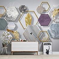カスタム壁紙モダンなシンプルな大理石のテクスチャ幾何学的な黄金の葉写真壁の壁画リビングルームテレビソファ家の装飾壁紙, 200cm×140cm