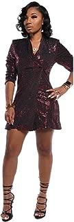 OLUOLIN Womens Fashion Sequin Shiny Glitter Sparkle Patchwork Long Sleeve Lapel One Button Jacket Tops Blazer