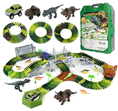 Dinosaurios Juguetes Pista de Coches con Coche para Niños de 3 4 5 Años de Edad Juego de Pistas de Carreras Dino Slot Car Toys con 196 Piezas Pistas Flexibles 8 Dinosaurios 2 Autos Regalos