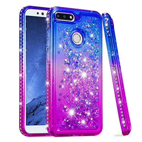 BestCatgift [Quicksand Liquid[Bling Diamond] Shockproof Bumper Anti-Drop Frame Soft TPU Protective Back Cover per Huawei Honor 7A/Y6/Enjoy 8e/7A PRO - Blue & Purple