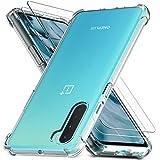 Ferilinso für OnePlus Nord 5G Hülle + 2 Stück Panzerglas Schutzfolie [Transparent Silikon Handy Hüllen] [Stoßfest Kratzfest ] [Shock Absorption Schutzhülle] [Bumper Crystal] [Einfache Installation]
