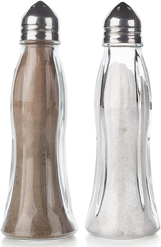 Salt And Pepper Shakers Glass Set Clear Curved Design Crystal Body With Stainless Steel Lids