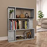 Freestanding Bookshelves Storage Display Cabinet,Stylish Open Shelf Storage Bookcase,Book Cabinet Room Divider Concrete Gray 31.5