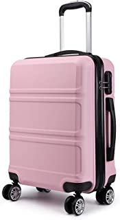 Kono 20 inch Cabin Suitcase Lightweight and Durable ABS Carry-on Hand Luggage 4 Spinner Wheels Trolley Case (Pink)