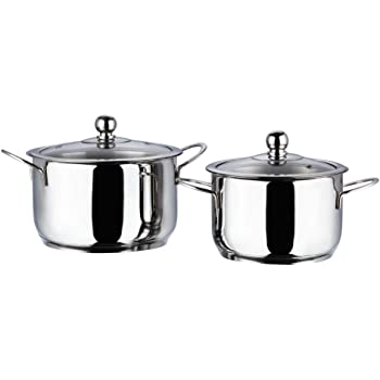 Vinod Stainless Steel Induction Friendly Tuscany Casserole with Glass Lid 2- Pieces