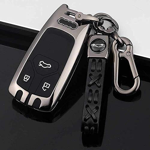 RFGOO Aleación de zinc+cubierta de silicona para llave de coche, para Audi A4 A4L A5 A6 A8 B9 Q5 Q7 TT TTS S4 S5 8S A Gris Keyless Entry Remote Shell Case & Pad