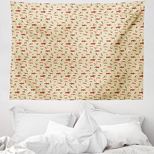 ABAKUHAUS Wild jagen Wandteppich & Tagesdecke, Archery Bull, aus Weiches Mikrofaser Stoff Wand Dekoration Für Schlafzimmer, 150 x 110 cm, Beige Burnt Orange