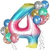 Simpeak Globo Número 4, Globo de Cumpleaños Niño 4 años + 24 Globos Multicolores + 1 Rollo de Cinta Láser Plateado + 1 Pajita, Set Globos Decoración para Fiesta Cumpleaños Party