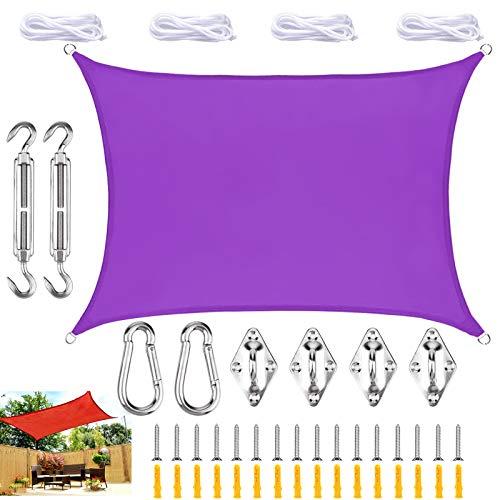 WYYL Sonnensegel Rechteckig Sonnenschutz, Wasserdicht Garten Balkon 95% UV Schutz Polyester Segel Wetterschutz Wasserabweisend, mit Seilen und Befestigungs Kit, für Garten Outdoor