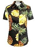 SSLR camisas hawaianas de algodón con botones impresos, para mujer -  Negro -  Small
