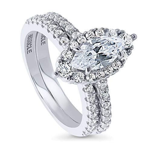 BERRICLE Rhodium Plated Sterling Silver Marquise Cut Cubic Zirconia CZ Halo Engagement Wedding Ring Set 1.76 CTW Size 6