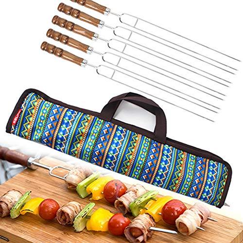 Eieren 5 stks/set RVS U-vorm BBQ Kebab Forks Barbecue Skewers met Houten Handvat Grill Tool voor Barbecue en Thuis Koken, 47mm, met Opbergtas