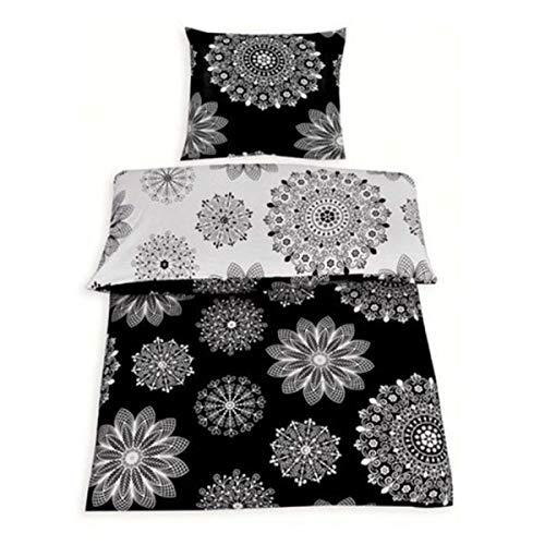 2Tlg Wende Bettwäsche Baumwolle Renforce Schwarz Weiß 135x200 mit Reißverschluss