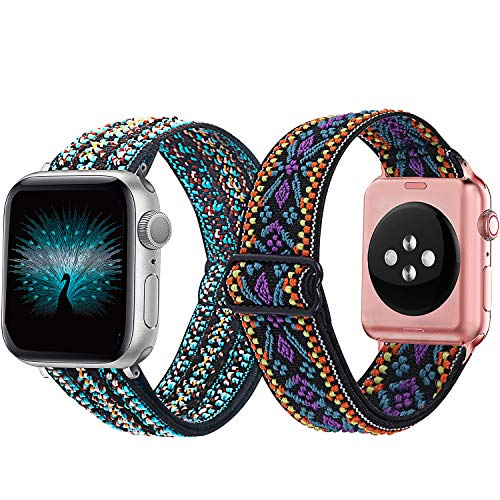 Mosonio 2-Pack Adjustable Elastic Watch Band Compatible for Apple Watch Band 38mm 40mm 42mm 44mm, Soft Stretch Loop Strap Wristbands for iWatch Series SE/6/5/4/3/2/1(Green Tribe+Purple Tribe, 38/40mm)