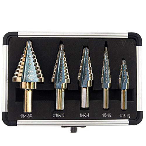 Vila 5-Pieces High Speed Steel Drill Set, Triangle-Shaped with Round Handle, Multiple Hole Sizes, Aluminum Case Included, for Laminates, Plastics, Plywood, Acrylic, Thin Metal