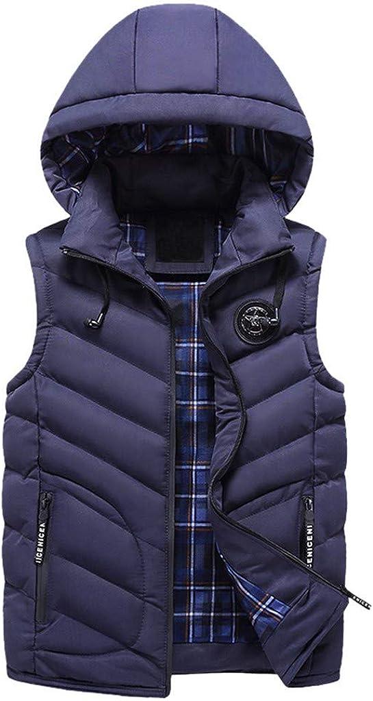 MODOQO Men's Packable Jacket with Hood Winter Warm Light Weight Sleeveless Vest