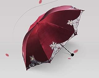 Double-Sided Embroidery Wave Edge Anti-UV Sun Umbrella Triple Folding UV Protected Parasol Travel Umbrella Compact Windproof Sun and Rain Umbrella Lace Pattern Red