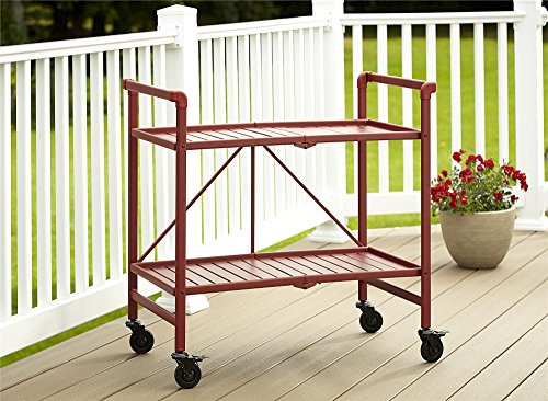 Cosco Indoor/Outdoor Serving Cart, Folding, Ruby Red