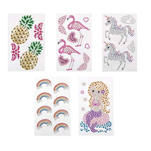 ewtshop® Edelstein Aufkleber, Strasssteine Sticker der Themen Regenbogen, Flamingo, Meerjungfrau, Ananas und Einhorn